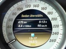 Färddatorn lovar mer än vad bilen kan leva upp till  när det gäller soppatörsten. Men 0,48 l/mil körde vi på.