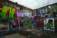 Spännarhyttans masugn. En gång Europas modernaste, idag en orgie i graffiti.