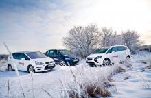 På håll ser alla bilarna lika stora ut, men Opel Zafira Tourer är ett par snäpp mindre.