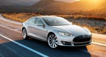 Tesla Model S är en fyradörrars elbil med en angiven räckvidd på 40 mil.