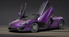 McLaren 570S speciallackeras för utställning i USA.