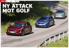 Test av Ford Focus, Kia Ceed och Volkswagen Golf.
