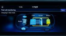 Färddatorns schematiska bild över bränslecellens arbete. Vid max effektuttag kombineras kraf-ten från batteri och bränslecell.