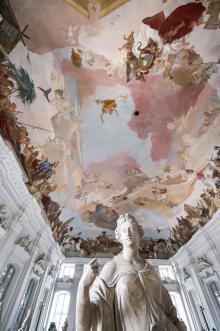 Residenset i Würzburg, med sina fantastiska tak, det här har bildberättelser från de då kända fyra världsdelarna.