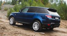 Range Rover ger mycket hjulspinn med 4WD-reglaget inställt i snö-läget. I sandläget klarar sig bilen betydligt bättre.