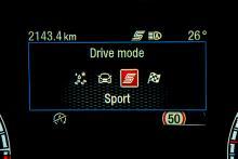 """Körlägen. """"Sport"""" ger bland annat en större ljudsensation från motorn."""
