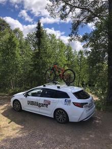 Toyota Corolla drog på cykelsemester till Dalarna.