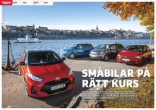 Test i småbilsklassen av Toyota Yaris, Honda Jazz, Opel Corsa och Suzuki Swift.