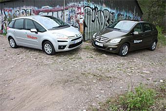 BILDSPEL! Läs om och se mer av Citroën C4 Picasso och Mercedes B170 NGT i bildspelet, bläddra med pilarna.
