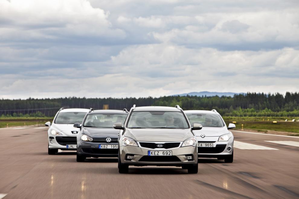 Biltest: Kia Cee´d, Peugeot 308, Renault Mégane, Volkswagen Golf