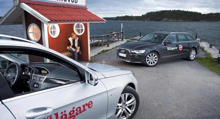 Stjärna eller ringar? Fram- eller bakhjulsdrivning? Testlagets Mikael Schultz tar en tänkarpaus och grunnar över vilket som är bästa valet i den tyska kombiduellen. Och det behövs, för det är ingen lätt sak att peka ut en given segrare i matchen mellan Audi A6 Avant och Mercedes E-klass Kombi.