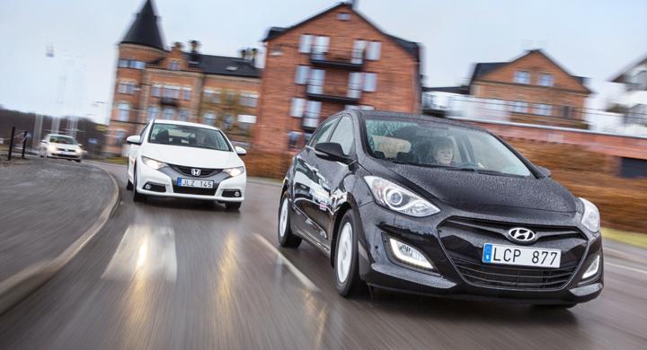 Ljustest: Hyundai i30, Honda Civic, Volkswagen Golf (2012)