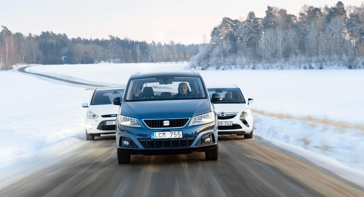 Ljustest: Ford S-Max, Opel Zafira, Seat Alhambra (2012)