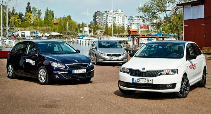 Biltest: Kia Cee'd, Peugeot 308 och Skoda Rapid Spaceback