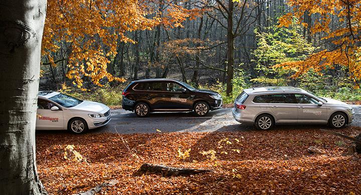 Ljustest: Mitsubishi Outlander PHEV, Volkswagen Passat GTE SportsCombi, Volvo V60 D5 Twin Engine