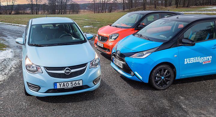 Ljustest: Opel Karl, Smart Forfour, Toyota Aygo (2016)