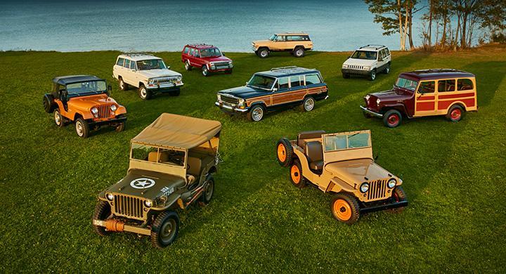Willys MB (1944), Jeep CJ-2A (1945), Willys Wagon (1949), CJ-5 (1973), Cherokee Chief (1977), Wagoneer (1983), Cherokee (1984), Grand Wagoneer (1991), Grand Cherokee (1994).