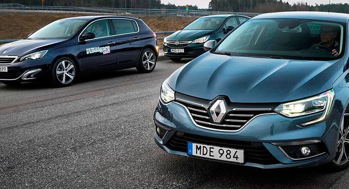 Ljustest: Opel Astra, Peugeot 308, Renault Mégane (2016)