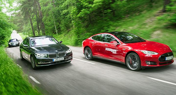 Ljustest: BMW 7-serie, Mercedes S-klass, Tesla Model S (2016)