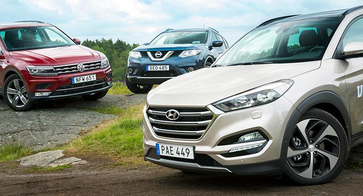 Ljustest: Hyundai Tucson, Nissan X-Trail, Volkswagen Tiguan (2016)