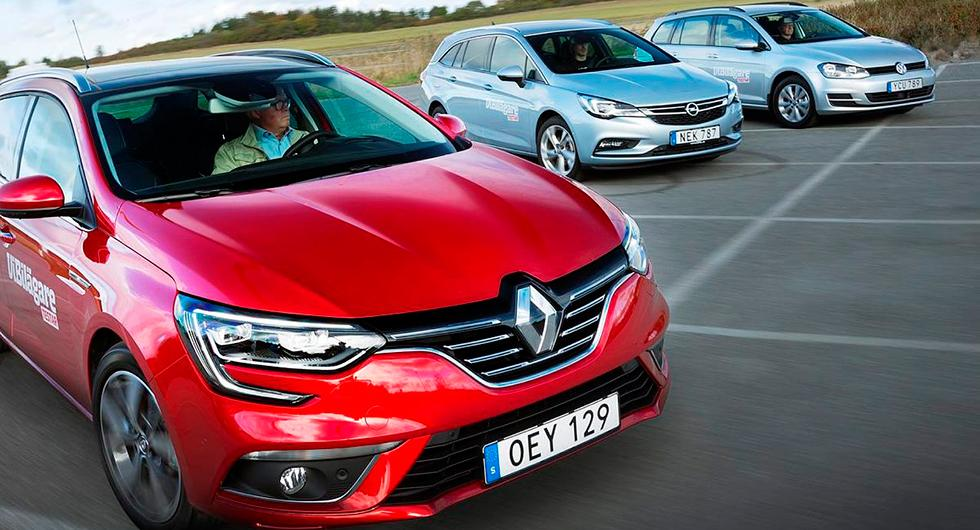 Ljustest: Opel Astra Sports Tourer, Renault Mégane Sports Tourer, Volkswagen Golf SportsCombi (2016)