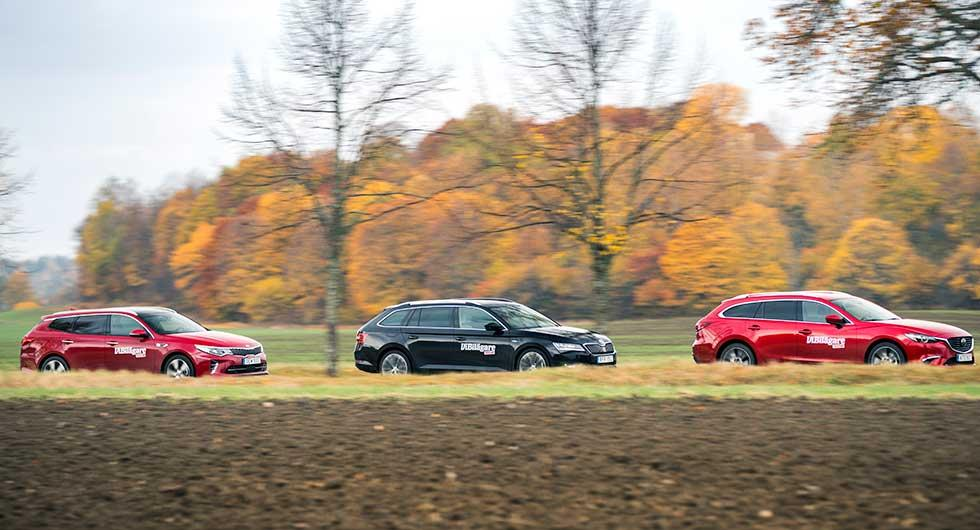 Ljustest: Kia Optima Sportswagon, Mazda 6 Wagon, Skoda Superb Combi (2016)