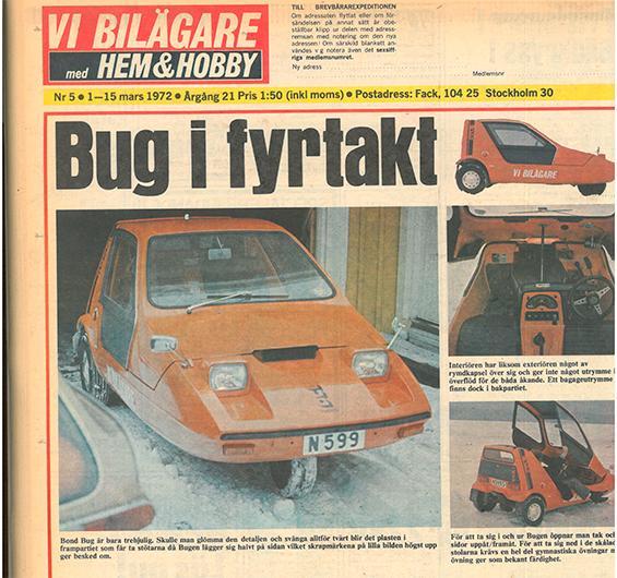 Det var då, 1972: ViB provkörde Bond Bug