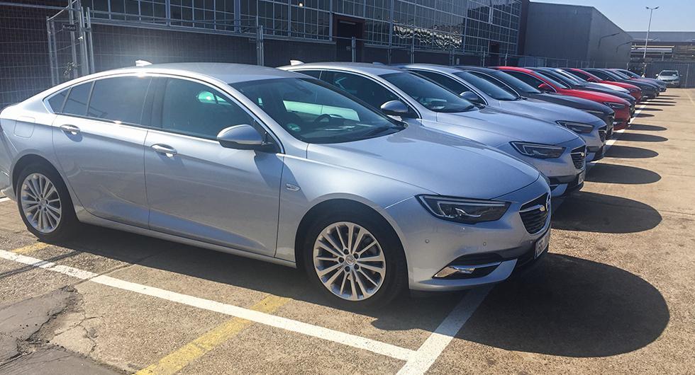 En massa Opel Insignior står uppradade, redo för att testas.