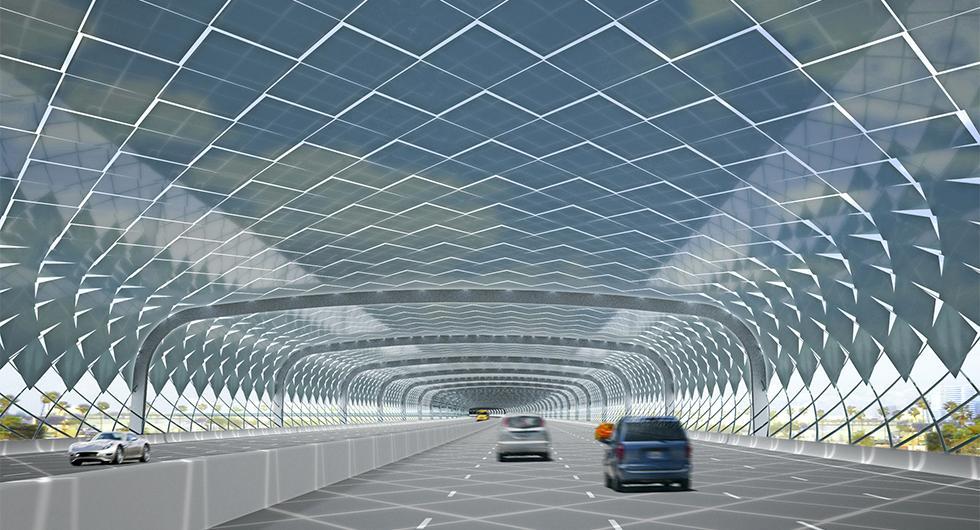 """Så här skulle en """"antibullertunnel"""" kunna se ut. Skissen kommer från ett tidigare projekt som föreslog en motorvägstunnel med solceller ovanpå i Los Angeles. Illustration: Måns Tham Arkitekt."""