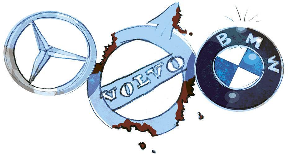 När Vi Bilägare bedömde rostskyddet på Volvos nya 90-serie blev utlåtandet klart sämre än för konkurrenterna Mercedes och BMW. Illustration: Johan Isaksson.
