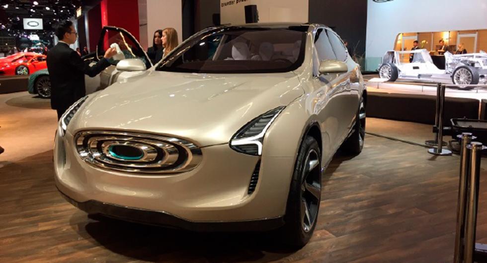 Den hypnotiska grillen är ett kännetecken för Thunder Powers bilar. Här på prototypen av en suv.