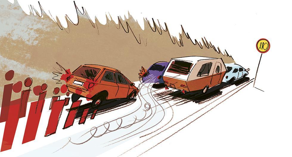 Frågeställaren undrar om det verkligen räcker med att blinka och sedan kasta sig ut i omkörningsfilen, utan hänsyn till andra trafikanter bakom. Illustration: Johan Isaksson.
