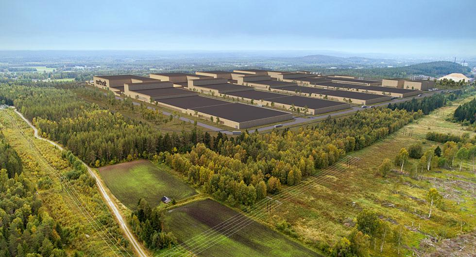 Skiss på hur batterifabriken kan komma att se ut när den står helt färdig år 2023.