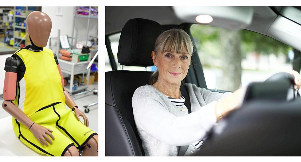 Den nyutvecklade krockdockan motsvarar en 70-årig kvinna.