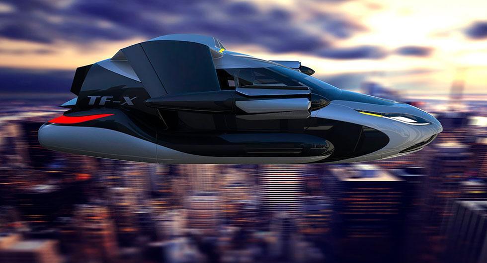 Så här kanske vi transporterar oss i framtiden – i en flygande bil. På bilden syns Terrafugias koncept TF-X, ett eldrivet fordon som kan landa och lyfta vertikalt.