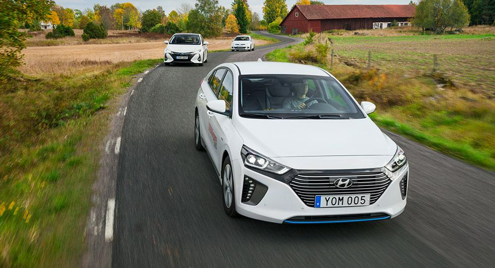 Ljustest: Hyundai Ioniq Plug-in, Toyota Prius Plug-in Hybrid, Volkswagen Golf GTE (2017)