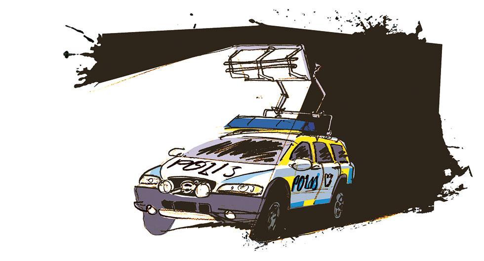 Frågeställaren tycker att polisen bländar andra trafikanter när de slår på helljus vid ett ingripande. Illustration: Johan Isaksson.