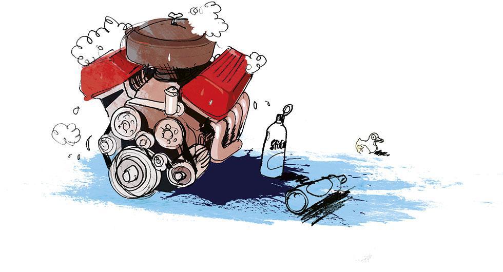 Frågeställaren undrar vad man kan göra för att rengöra bilmotorn och hålla den i så gott skick som möjligt. Illustration: Johan Isaksson.