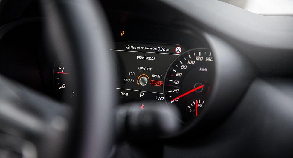 Med körlägesväljaren kan fem olika inställningar för bland annat motorstyrningen väljas.