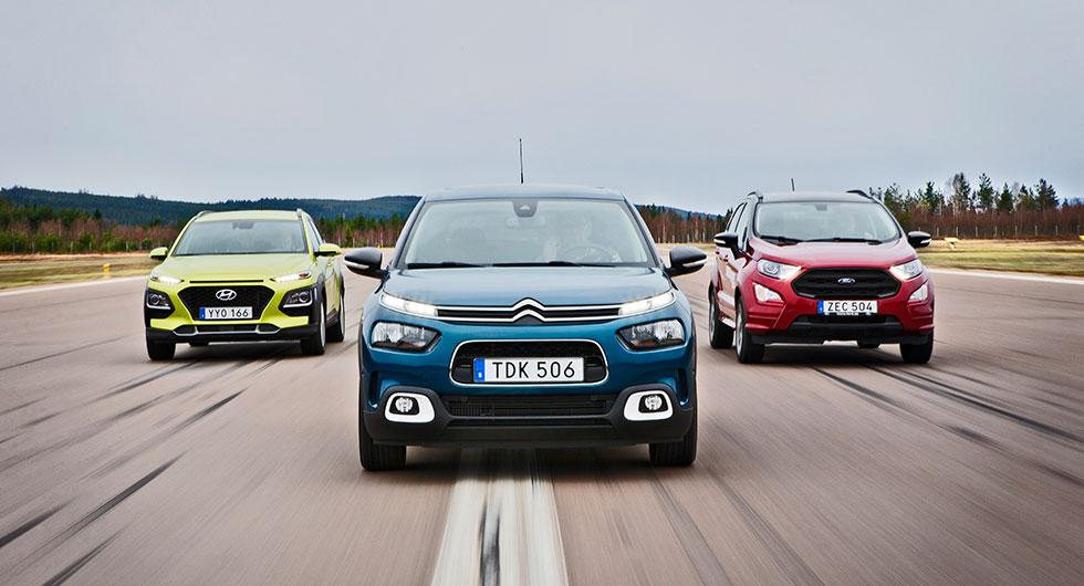 Ljustest: Citroën C4 Cactus, Ford Ecosport, Hyundai Kona (2018)