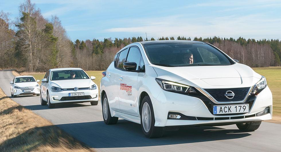 Ljustest: Hyundai Ioniq Electric, Nissan Leaf, Volkswagen e-Golf (2018)