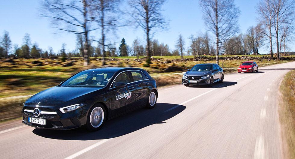 Ljustest: BMW 1-serie, Honda Civic, Mercedes A-klass (2018)