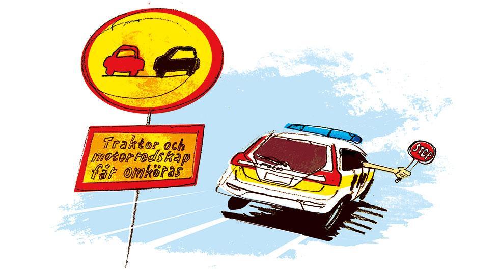 Heldraget med omkörningsförbud, men traktorer får köras om. Frågeställaren undrar vad som gäller. Illustration: Johan Isaksson.