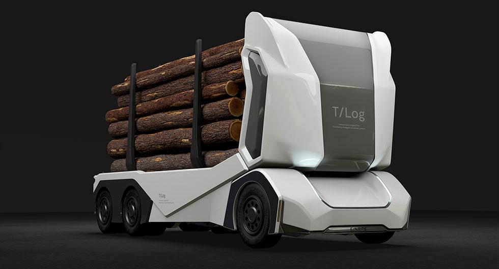 Svenska innovationen T-log – en eldriven timmerbil utan förarhytt.