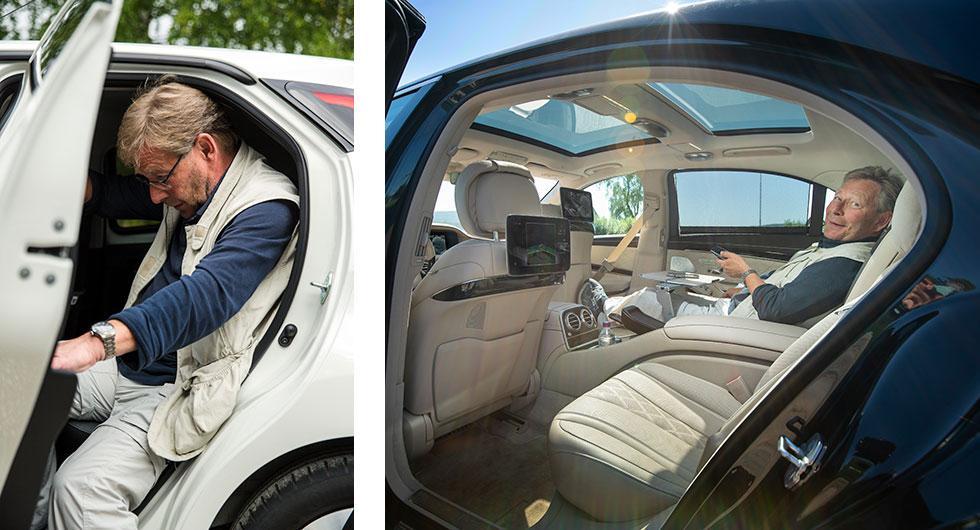Högra bilden: Att fläka ut sig i baksätet i lyxutrustad Mercedes S-klass för nästan två miljoner hör till det mest bekväma man kan göra i en bil. Vänstra bilden: Toyota Aygos aktersoffa är betydligt trängre och mer spartansk och dessutom är det knöligt att komma in genom bakdörren.