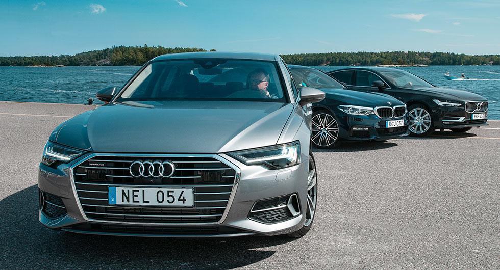 Ljustest: Audi A6, BMW 5-serie, Volvo S90 (2018)