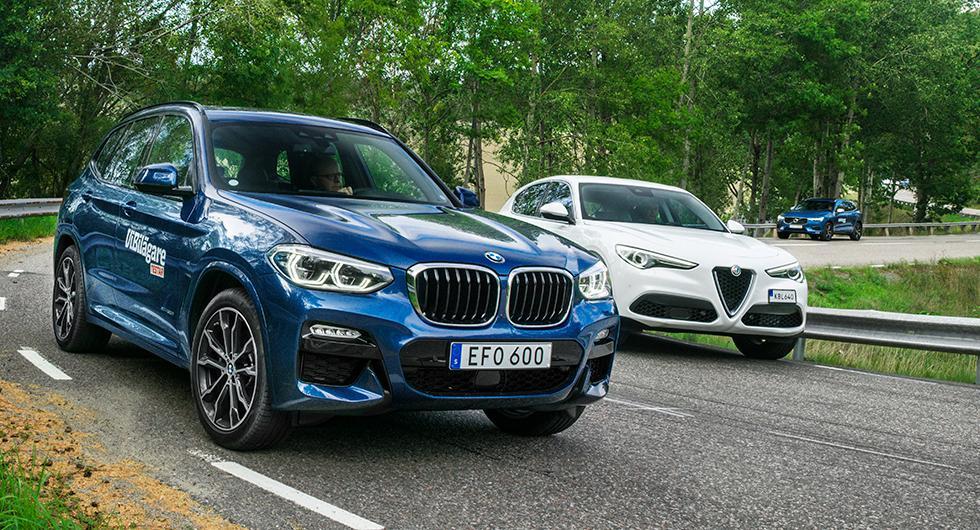 Ljustest: Alfa Romeo Stelvio, BMW X3, Volvo XC60 (2018)