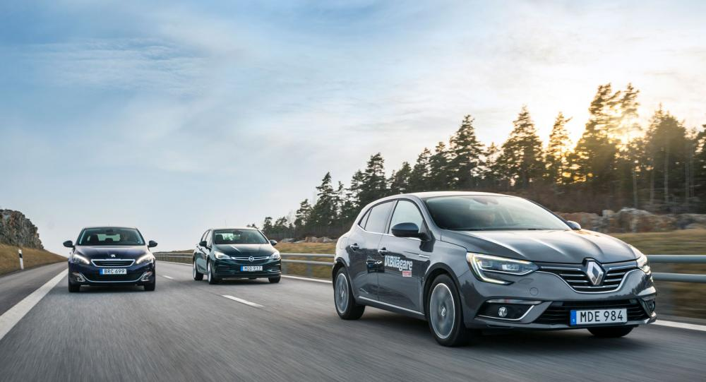 Testvärden: Renault Mégane, Opel Astra och Peugeot 308 (2016)