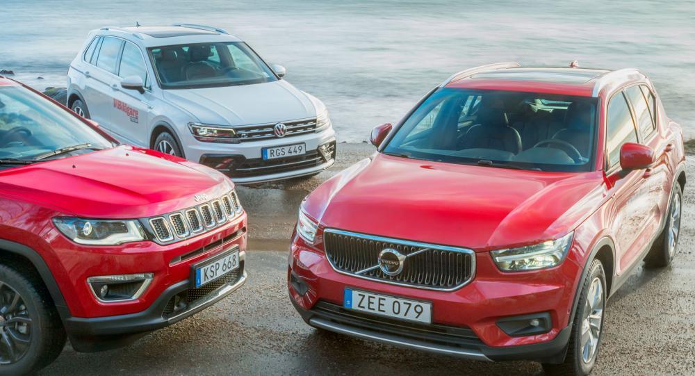 Ljustest: Volvo XC40, Volkswagen Tiguan, Jeep Compass (2018)