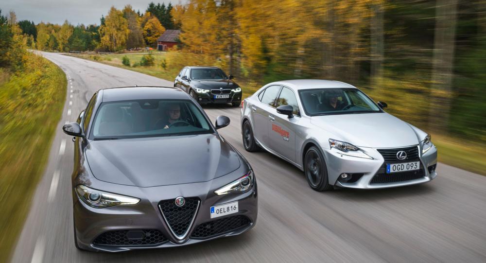 Ljustest: Alfa Romeo Giulia, BMW 3-serie och Lexus IS (2016)